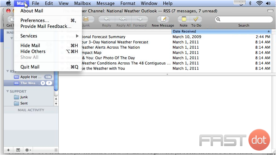 4) To manage general feed options, go to Mail, then click Preferences.