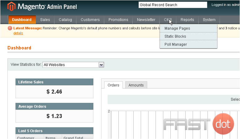 1) Go to CMS... and select Manage Pages