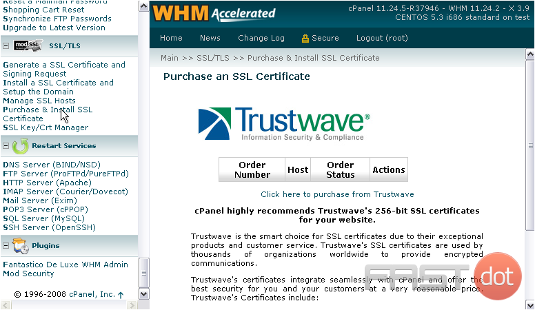 Once you've placed an order with Trustwave, you should be able to view its status here.