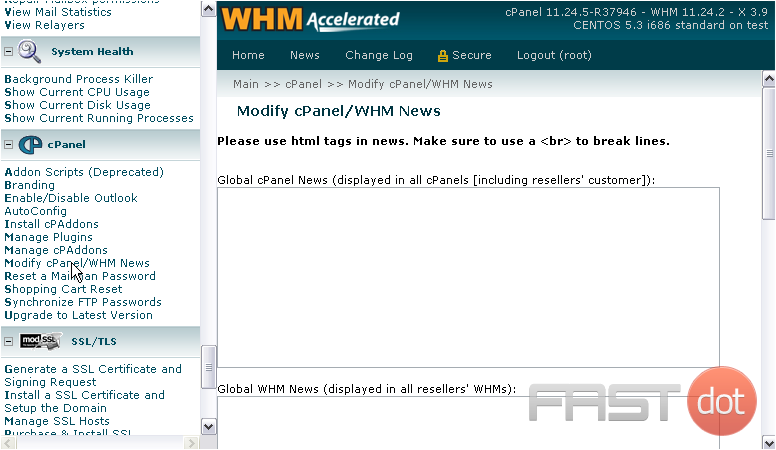 There are four boxes here that allow you to type up news to be used in cPanel & WHM. The text you enter will not be formatted in any way, so you need to use HTML to do that; you must use <br /> in order to put line breaks in your text.