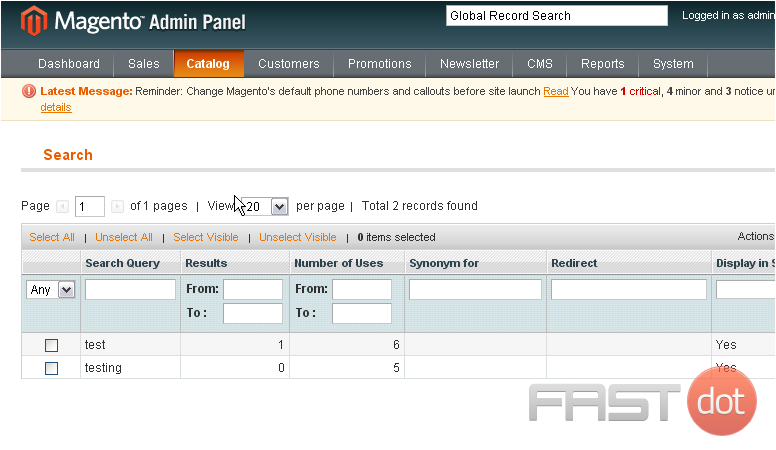 Manage search terms in Magento
