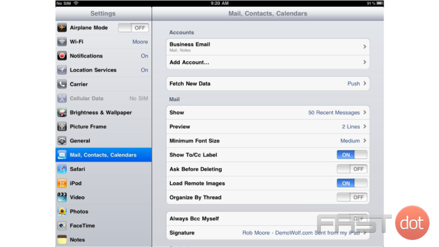 "2) Then select ""Mail, Contacts, Calendars""... and then ""Add Account""."