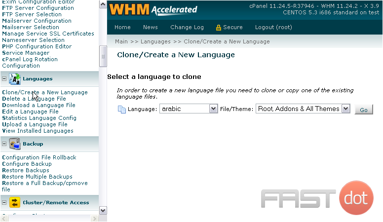 Manage Languages in WHM