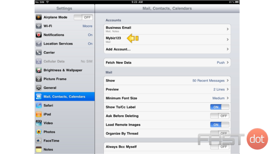 "11) Success! The POP email account has been setup on the iPhone, and you can see it here listed under ""Accounts"""