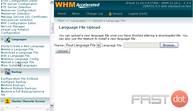 14) Next, take a look at the language upload page.