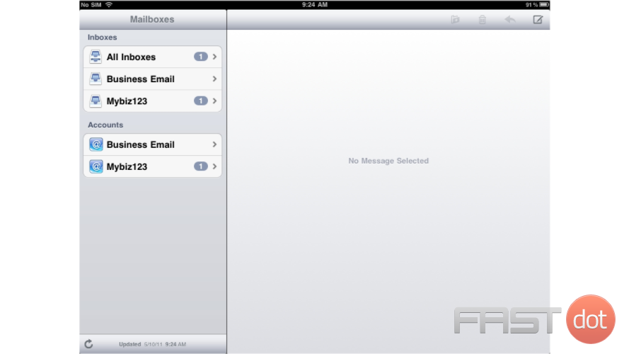 13) If you have multiple email accounts setup in your iPad, they'll all be listed here.