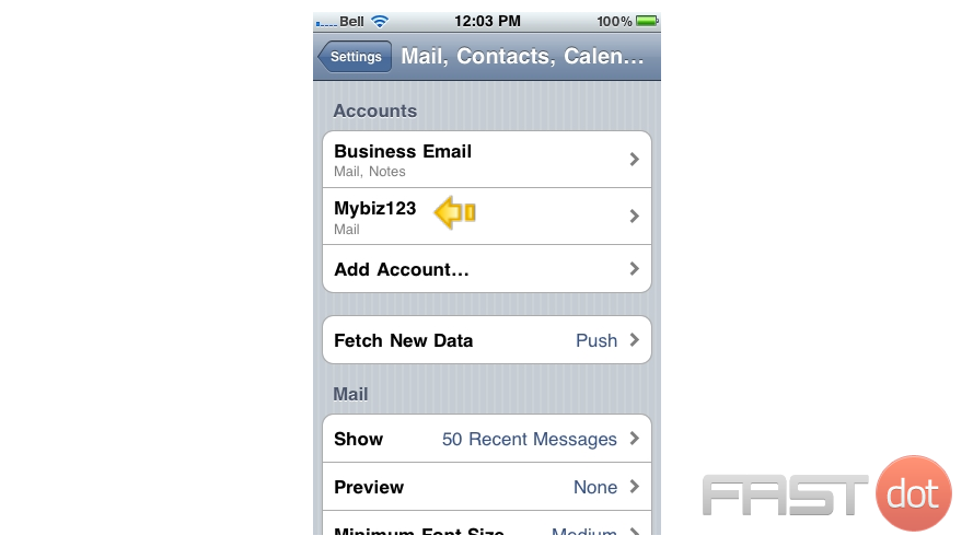 "Success! The POP email account has been setup on the iPhone, and you can see it here listed under ""Accounts""."