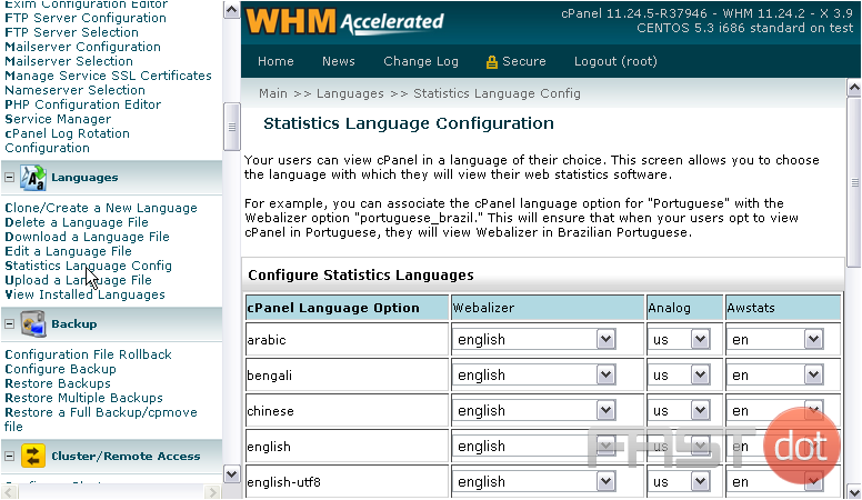 23) Here, you can control which language each of the statistics programs will use when a user has a certain language picked for cPanel.
