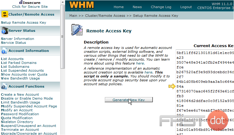 That's it! The Remote Access Key has been reset, and is shown here to the right