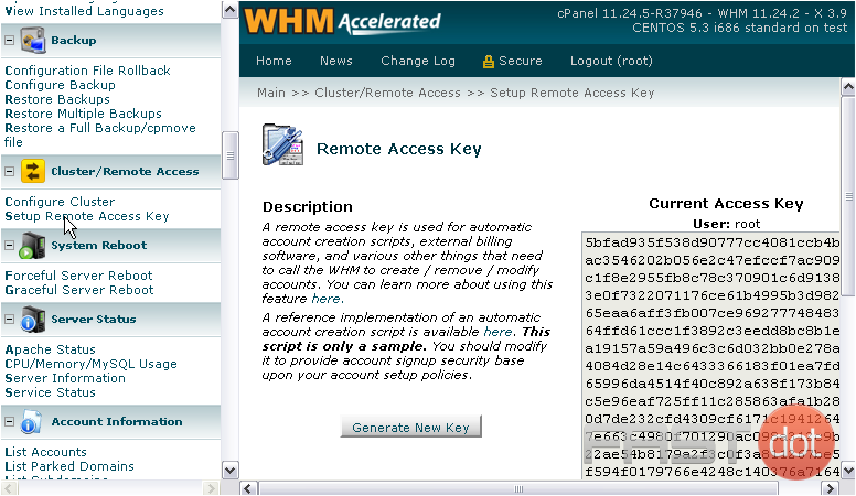 Here is your current access key, in the greyed-out textarea at right.