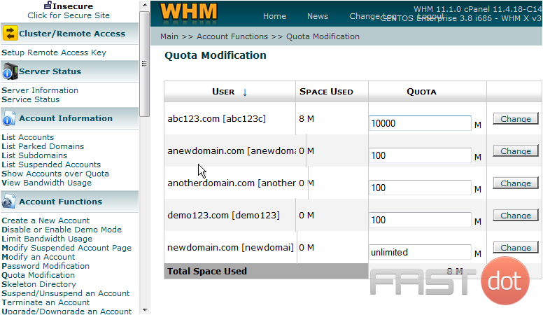 This page lists all the accounts in your WHM, and the total amount of storage space used by each one, and the total