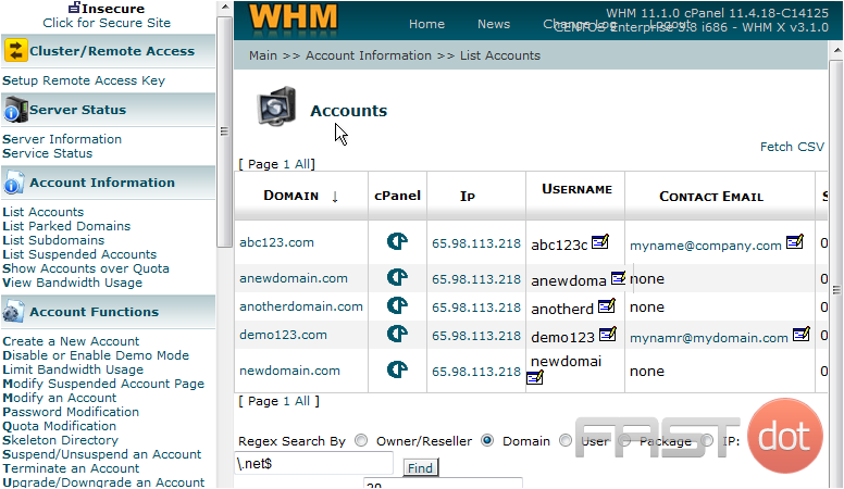 3) This is a list of accounts in this WHM's reseller plan. Once again, each of these accounts have their own individual CPanel, and we can login to their CPanel by clicking the corresponding link. Let's login to the CPanel for newdomain.com