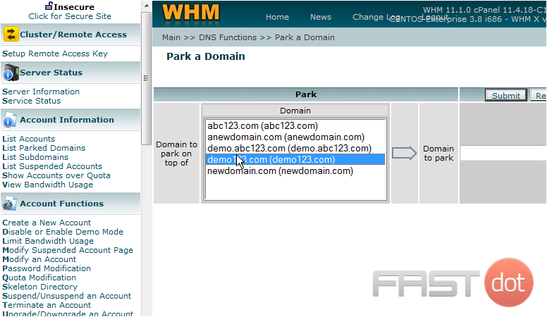 3) Select the existing domain here