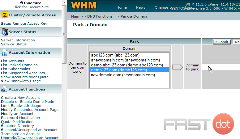 4) Then enter the new domain to park here. To create the new DNS zone, click the Submit button