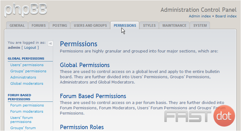 Configure forum permissions in phpBB