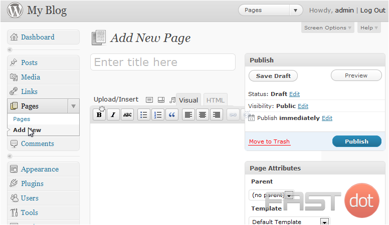 Manage pages in WordPress