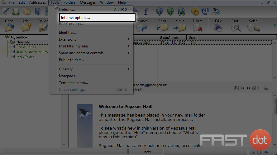 Configure a POP email account in Pegasus Mail