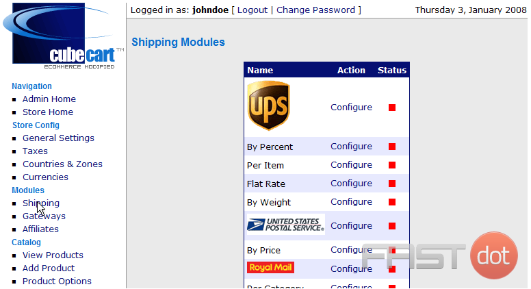 Shipping modules in CubeCart