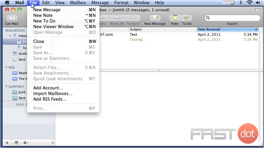 Import data from another email client