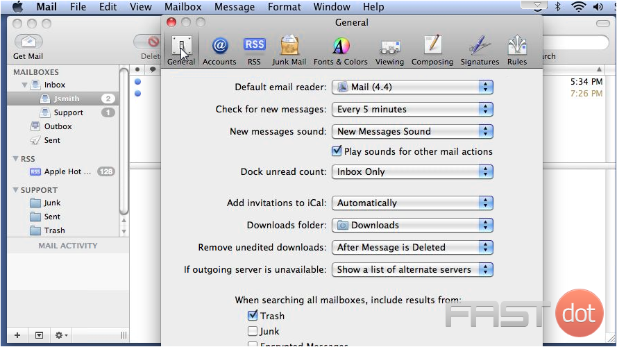 Settings in Apple Mail