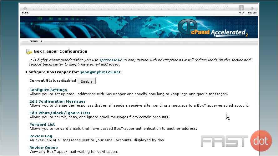 enable spam protection in cPanel